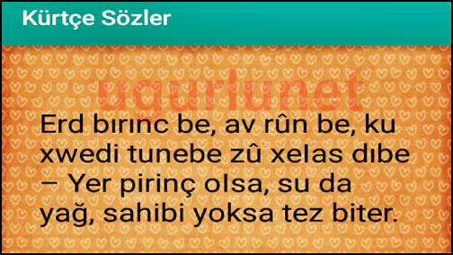 Kürtçe Sözler - Uğurlunet